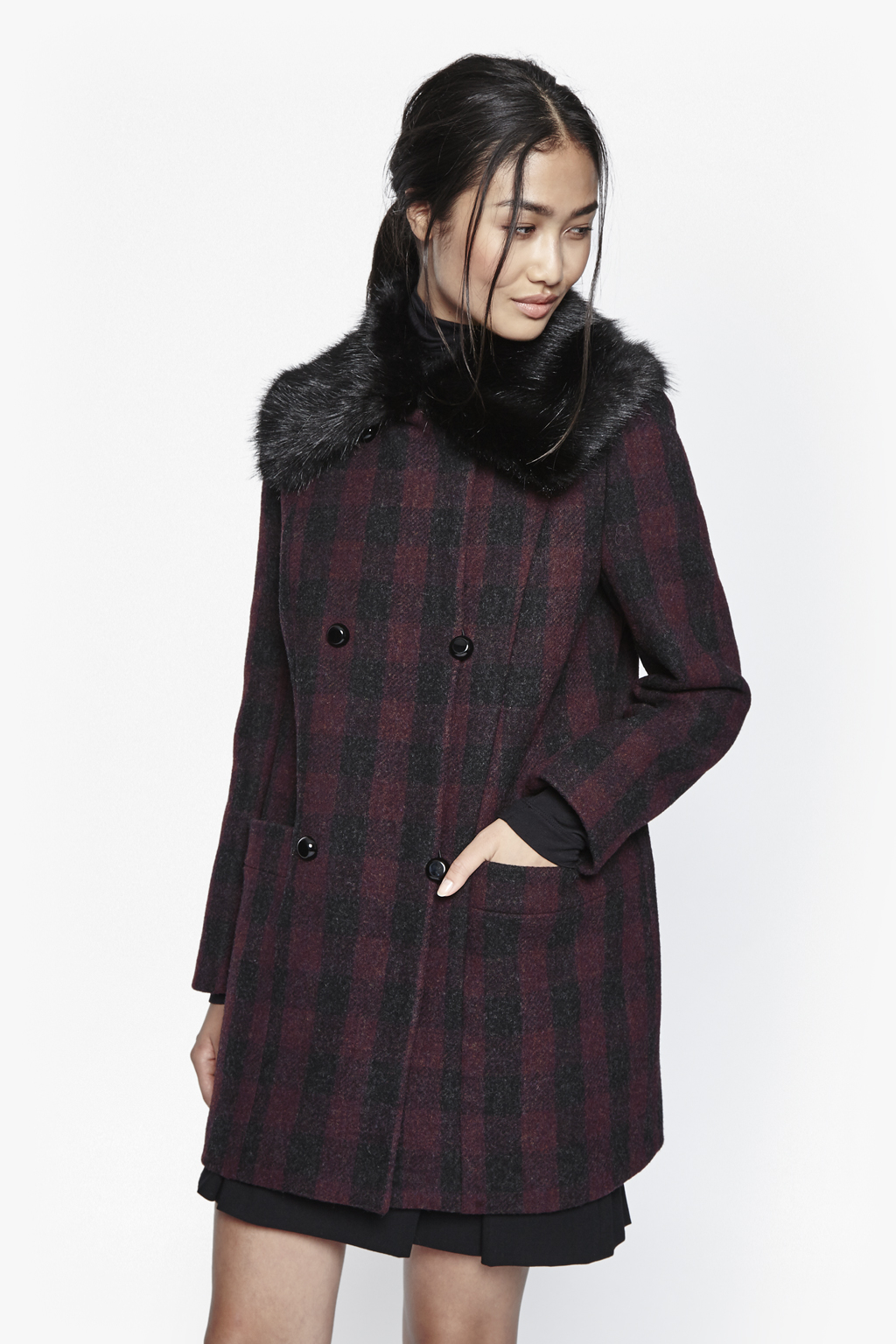 French Connection Highland Wool Amp Faux Fur Coat Lyst