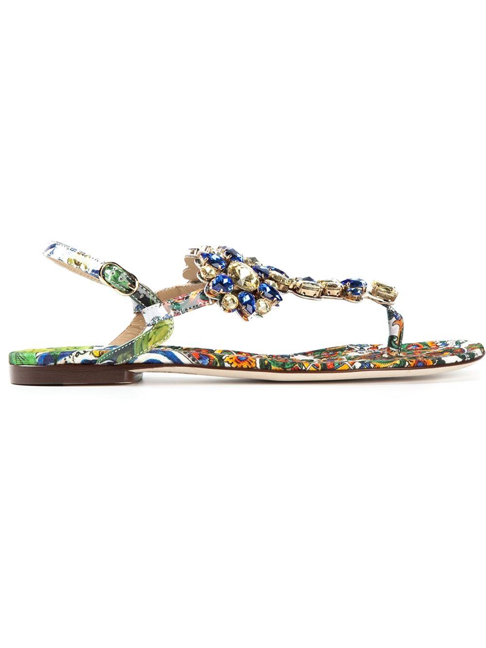 65ae64aae4c7 Lyst - Dolce   Gabbana Crystal Embellished Sandals