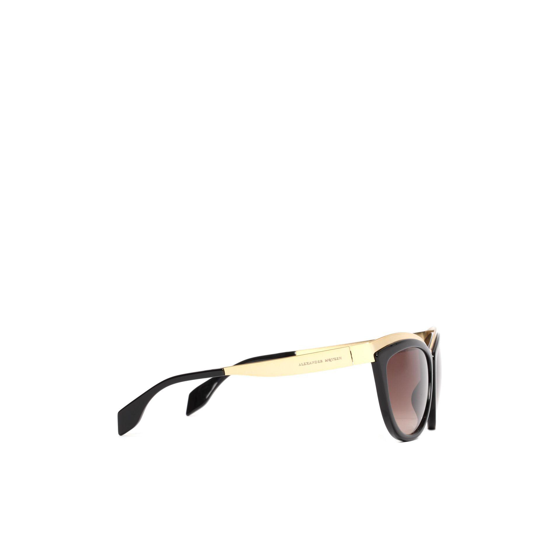 3c1a14f205 Lyst - Alexander McQueen Metal Brow Cat Eye Sunglasses in Metallic ...