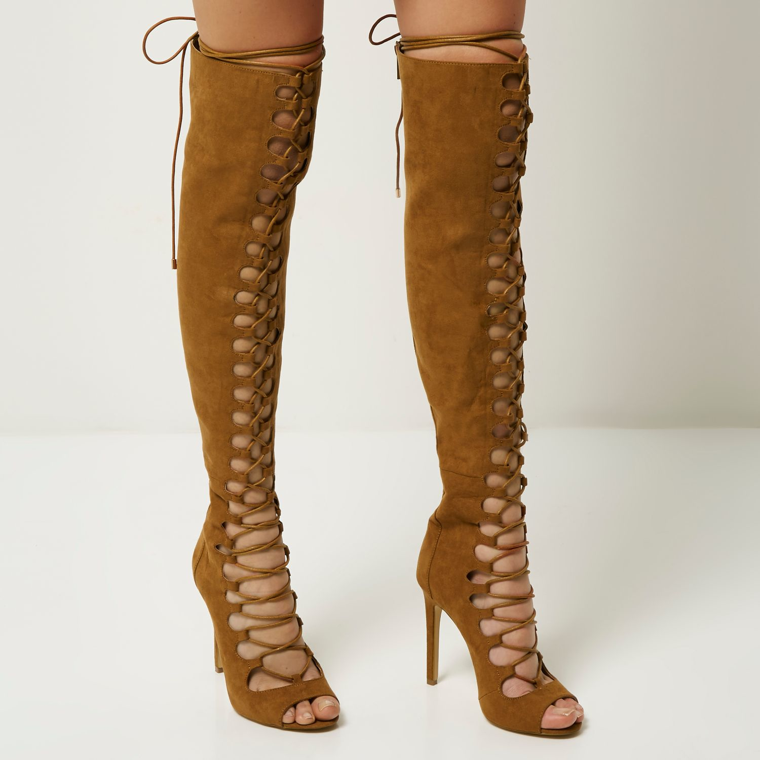 af38c23e3289e River Island Tan Lace-up Over The Knee Heeled Boots in Brown - Lyst