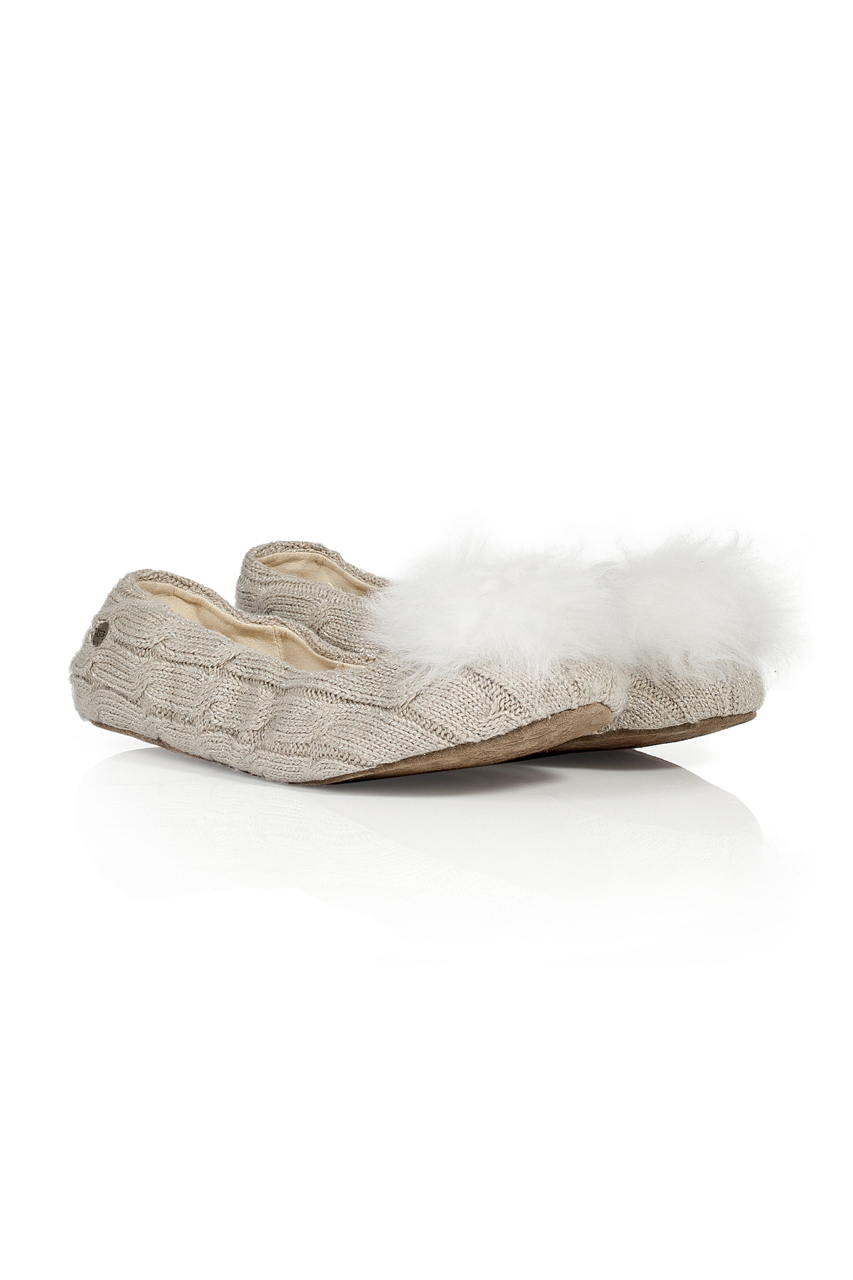 542462c2a UGG Wool Slippers With Fur Pompom in White - Lyst