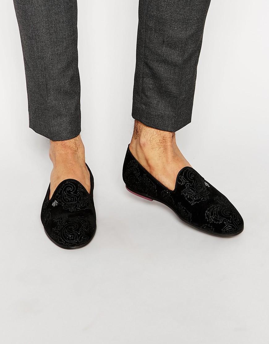 3d7ef9613a0e1 Lyst - Ted Baker Trval Velvet Dress Slippers in Black for Men