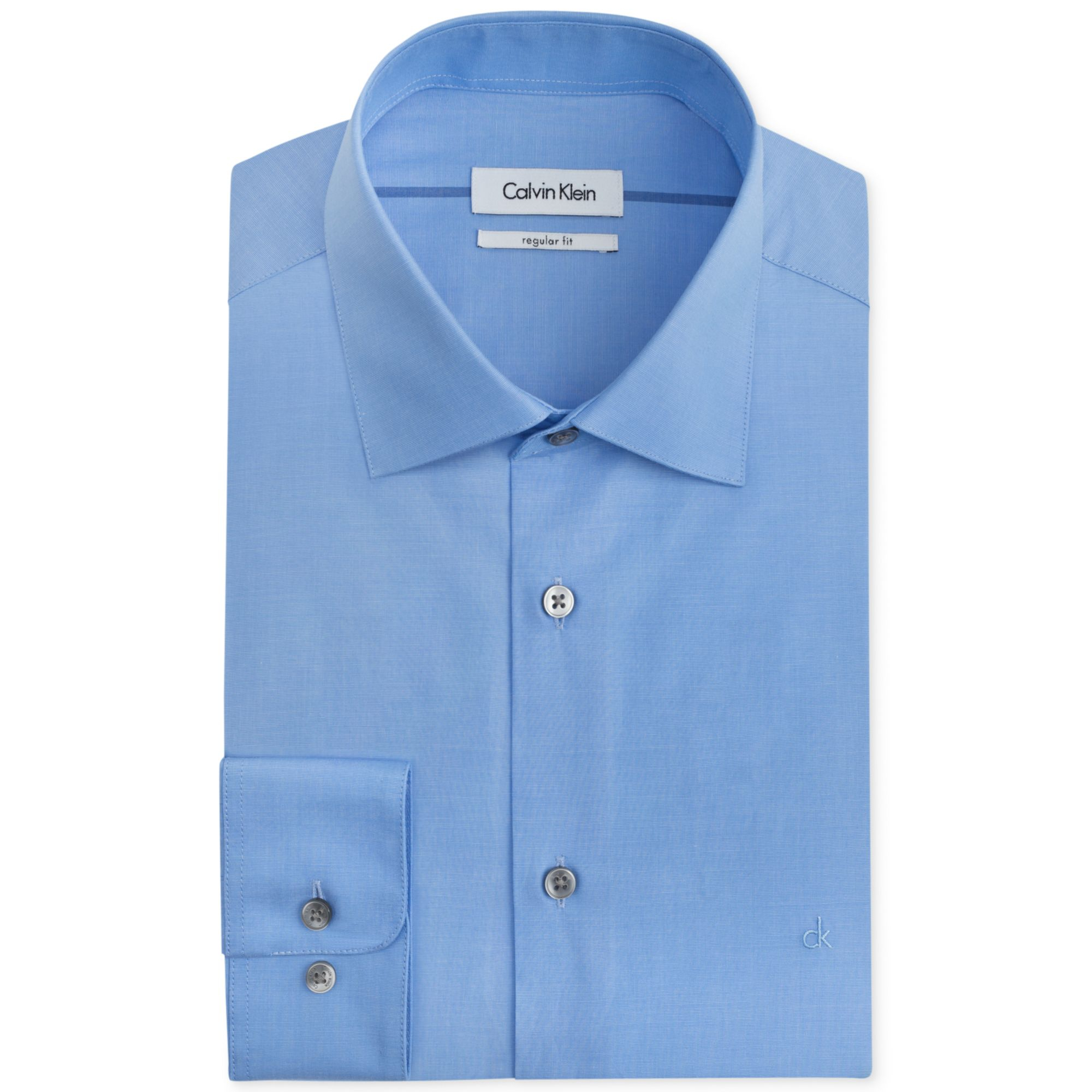 calvin klein liquid cotton solid dress shirt in blue for