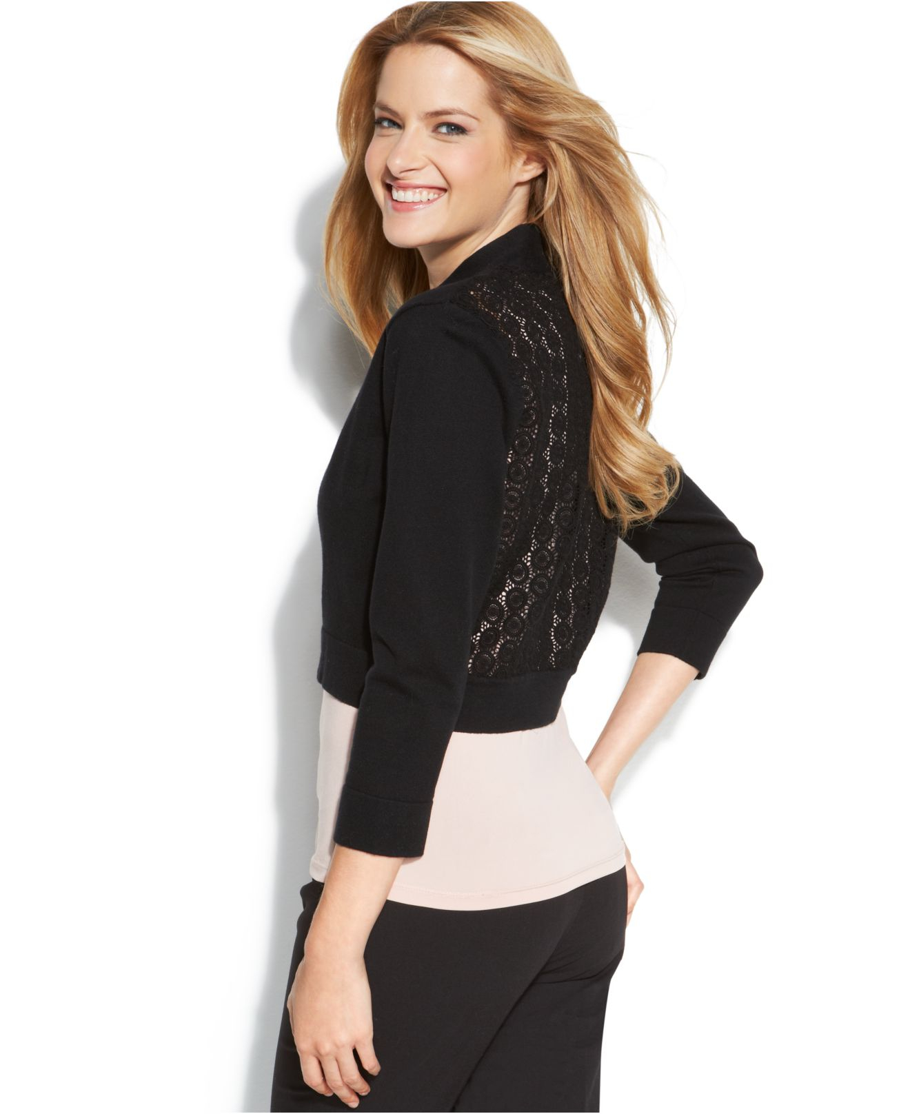 Calvin klein Lace-Back Shrug Cardigan in Black | Lyst