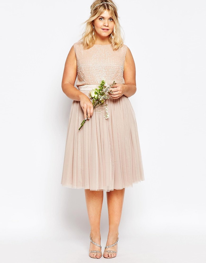 lovedrobe luxe embellished tulle skirt midi dress in pink