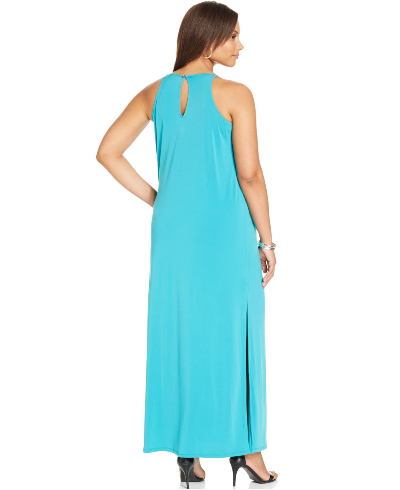 Lyst - Michael Kors Michael Plus Size Beaded Fringe Maxi Dress in Blue