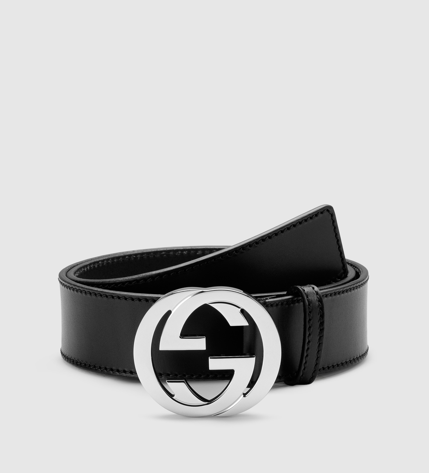 7240805f4 Gucci Leather Belt With Interlocking G Buckle in Black for Men - Lyst