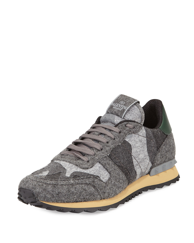 Valentino Grey Garavani Camo Rockrunner Sneakers gG9924
