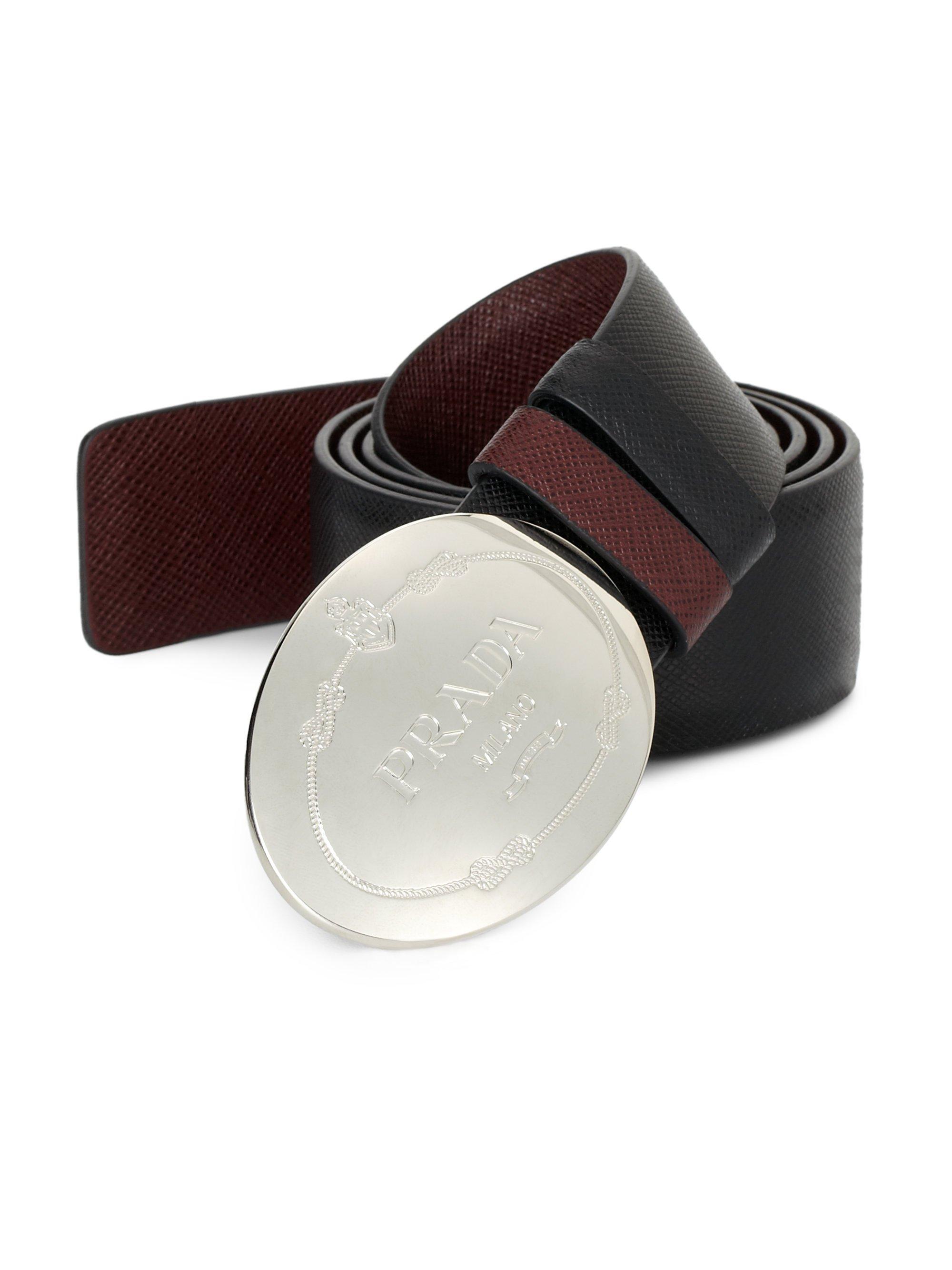 prada black curved belt