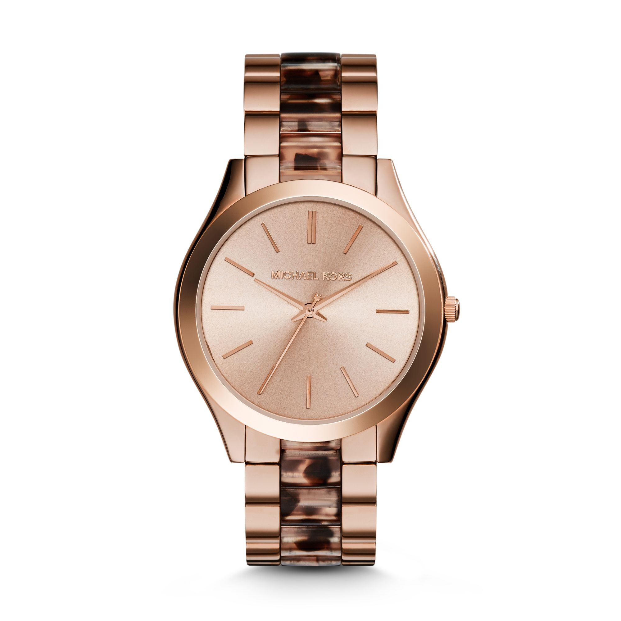 michael kors runway rose gold tone acetate watch in pink. Black Bedroom Furniture Sets. Home Design Ideas