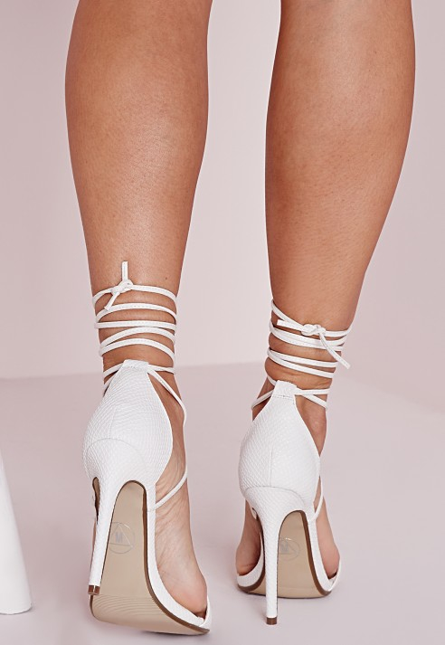 Lyst - Missguided Lace Up Barely There Heeled Sandals White Croc ...