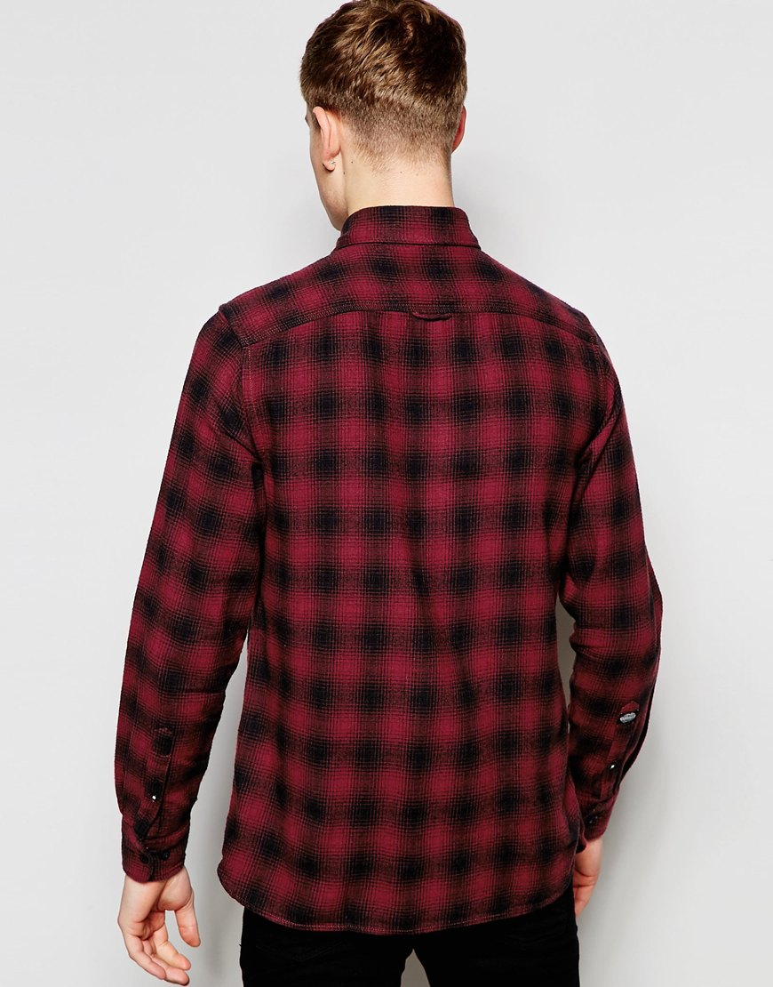 Jack jones check flannel shirt in slim fit in red for for Mens slim fit flannel shirt