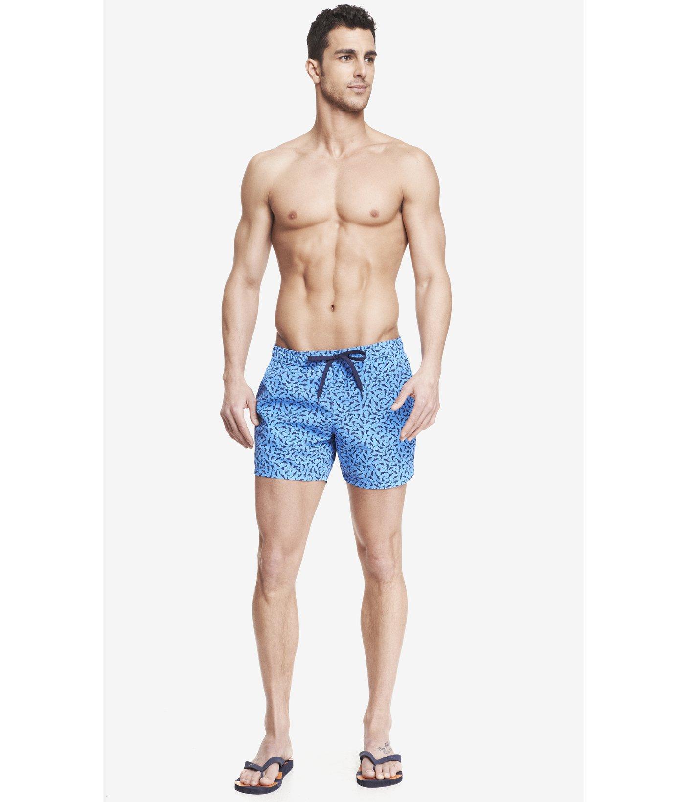 b079948051 Express Shark Print Swim Shorts in Blue for Men - Lyst
