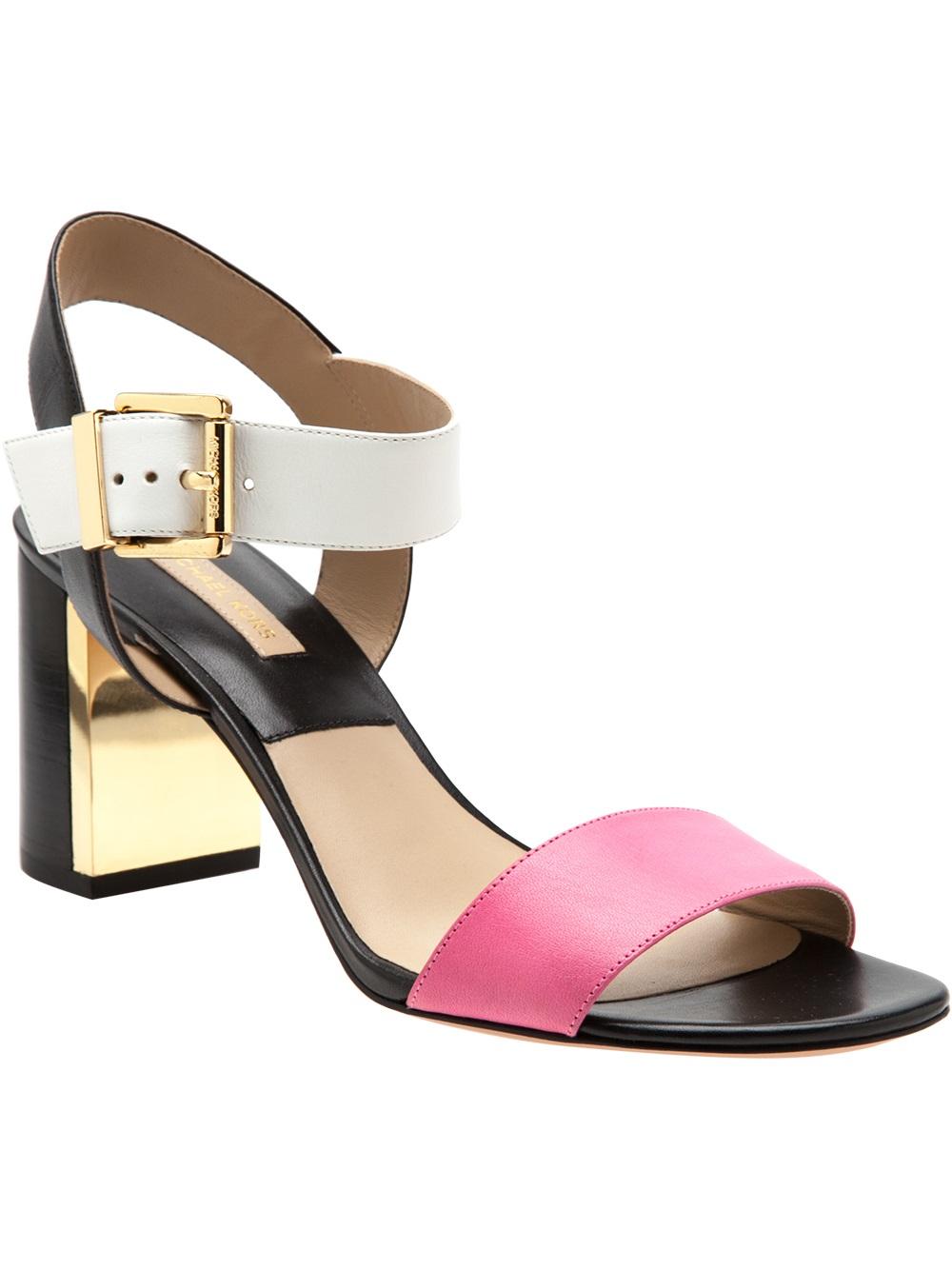 Michael Kors Chunky Heel Sandal In Pink Pink Amp Purple Lyst