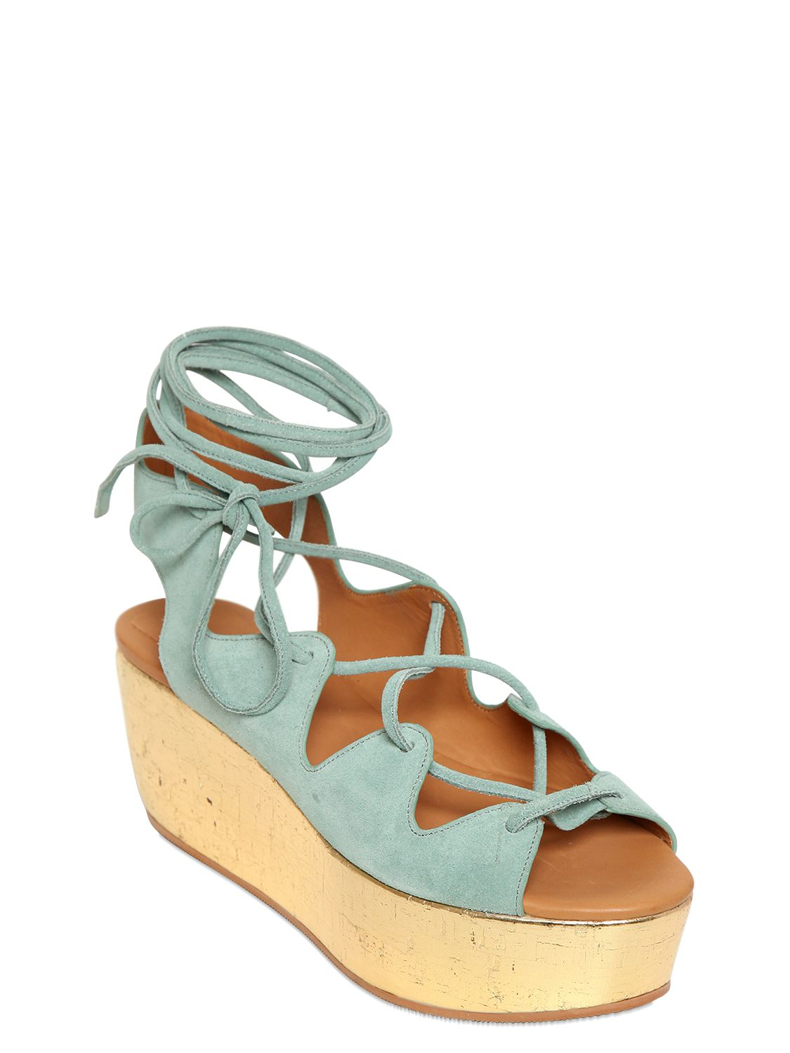 e48d06606d75 Lyst - See By Chloé 70Mm Suede Lace-Up Wedge Sandals in Blue