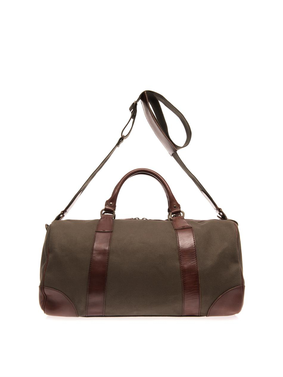 Lyst - Polo Ralph Lauren Canvas and Leather Travel Bag in Green for Men 620c7152b9caf