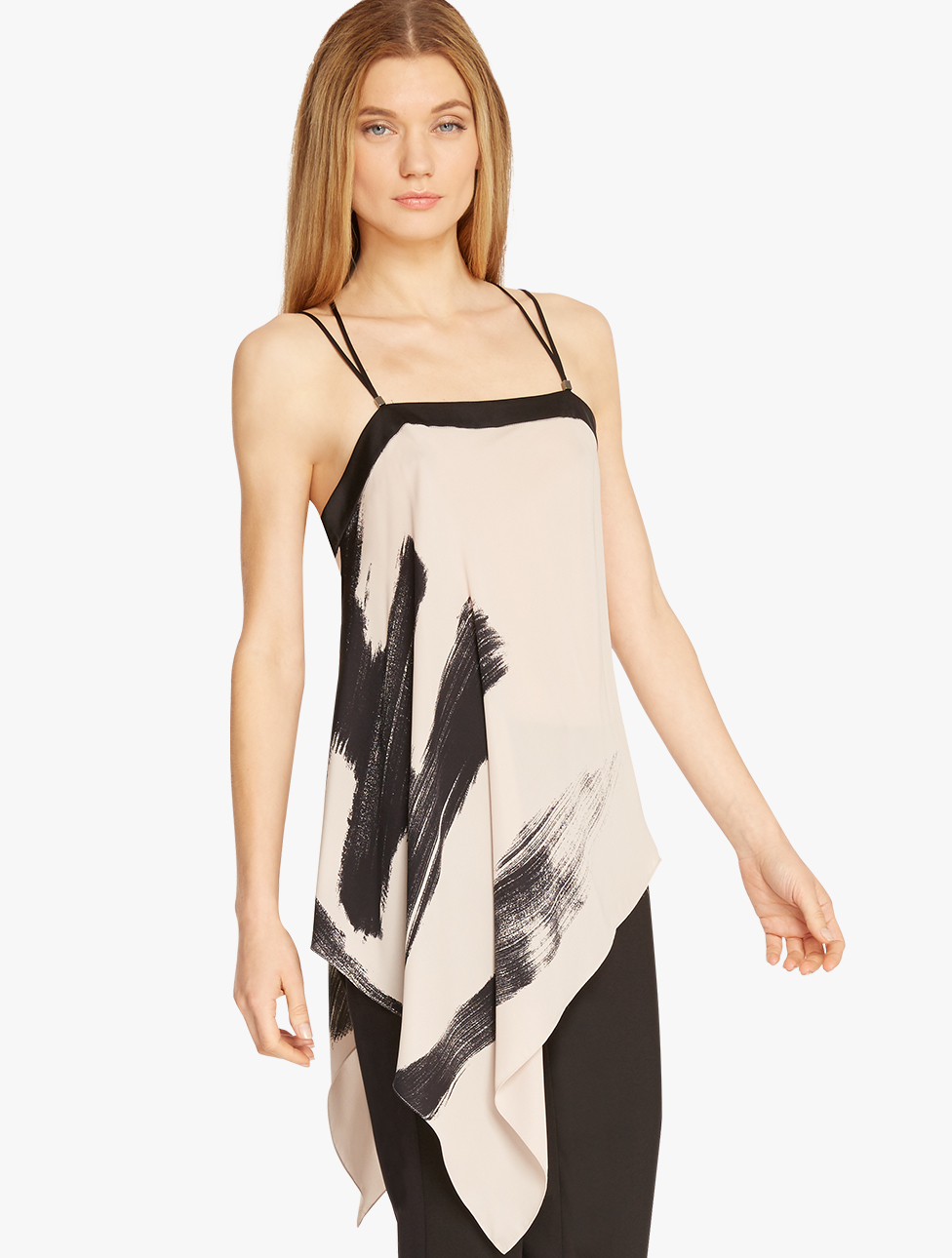 Halston Printed Asymmetric Cami In Natural Lyst