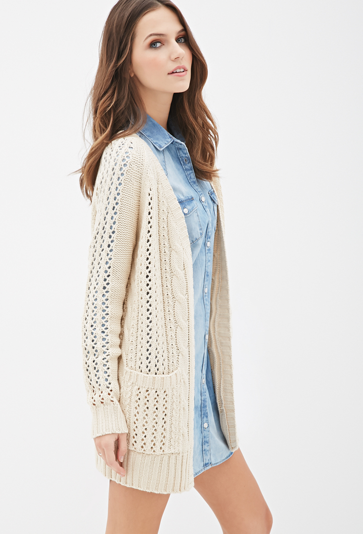 Forever 21 Cable Knit Cardigan In Natural Lyst