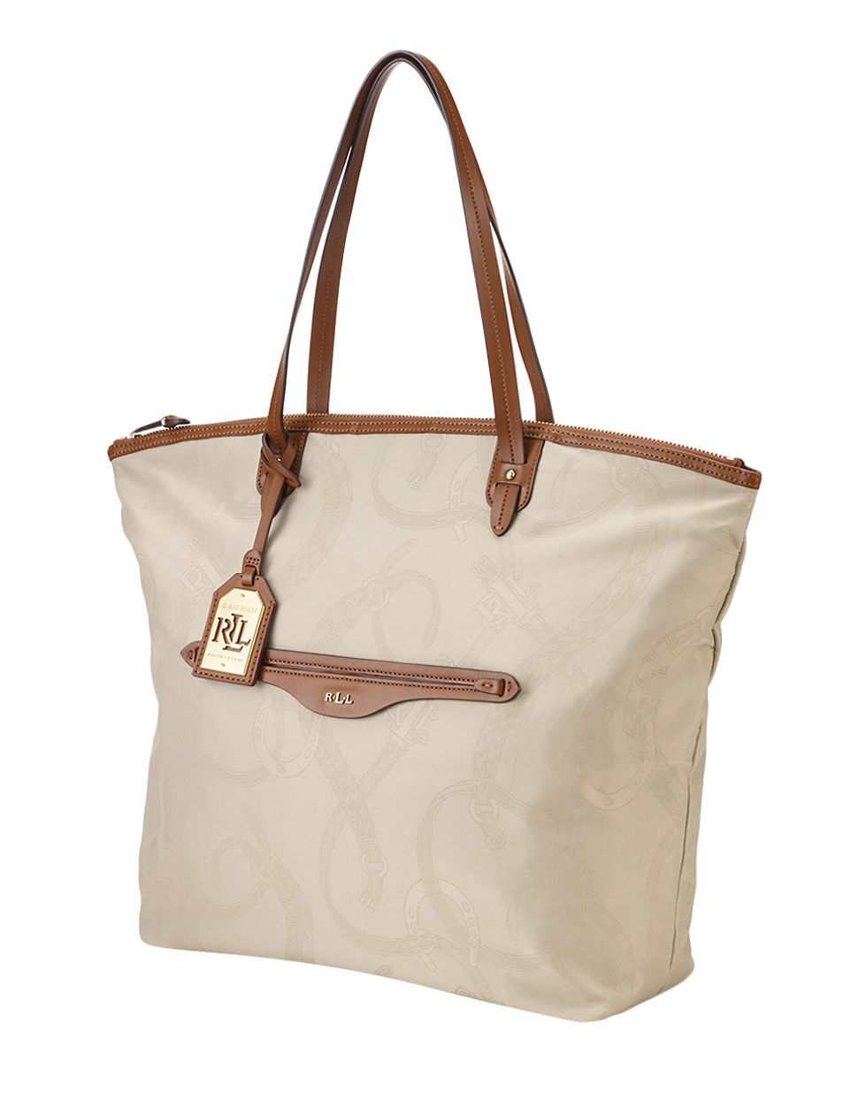 94545afe22 ... purchase lyst lauren by ralph lauren cavalry nylon tote bag in natural  11df9 1c8e7