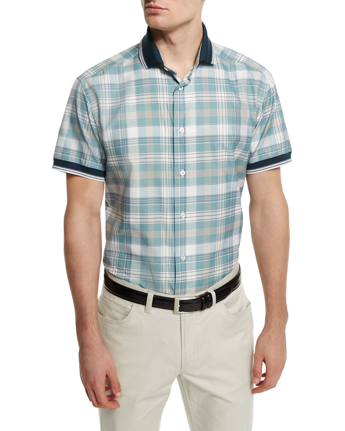 Brioni Plaid Short Sleeve Shirt With Contrast Trim In Blue