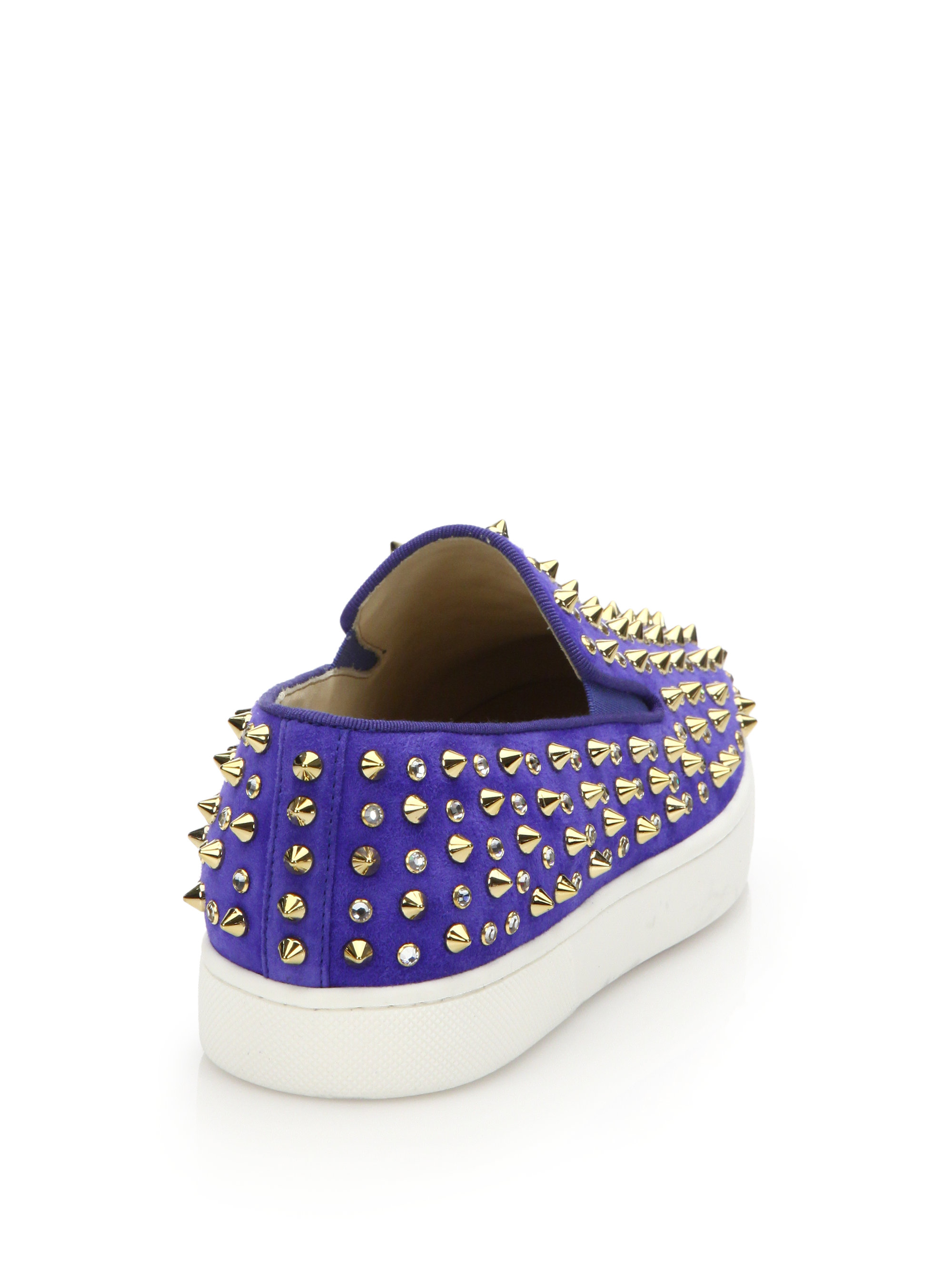 Christian louboutin Roller Flat Studded Suede Slip-on Sneakers in ...