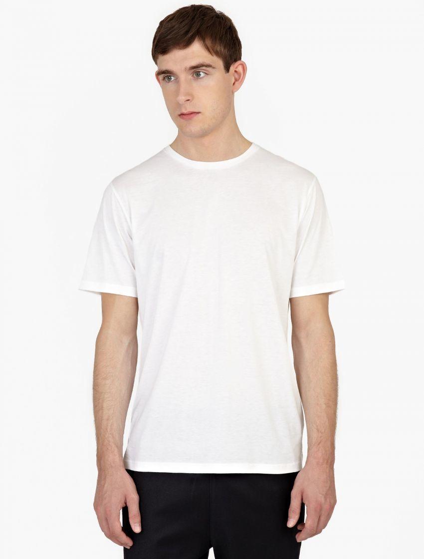 Ami white silk blend t shirt in white for men lyst for Silk white t shirt