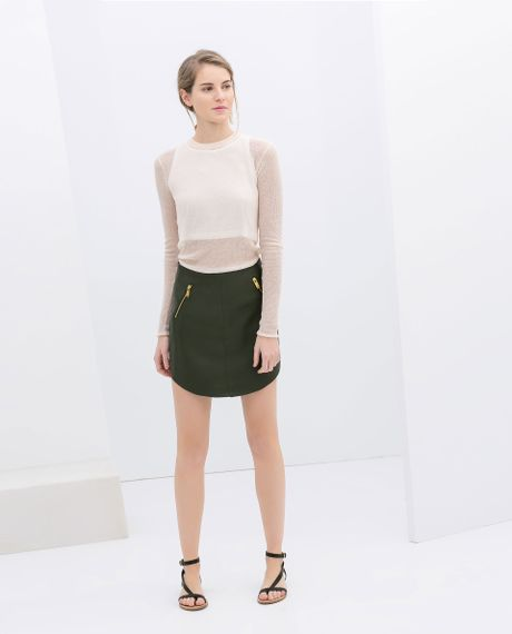 zara imitation leather skirt with zips in green khaki lyst