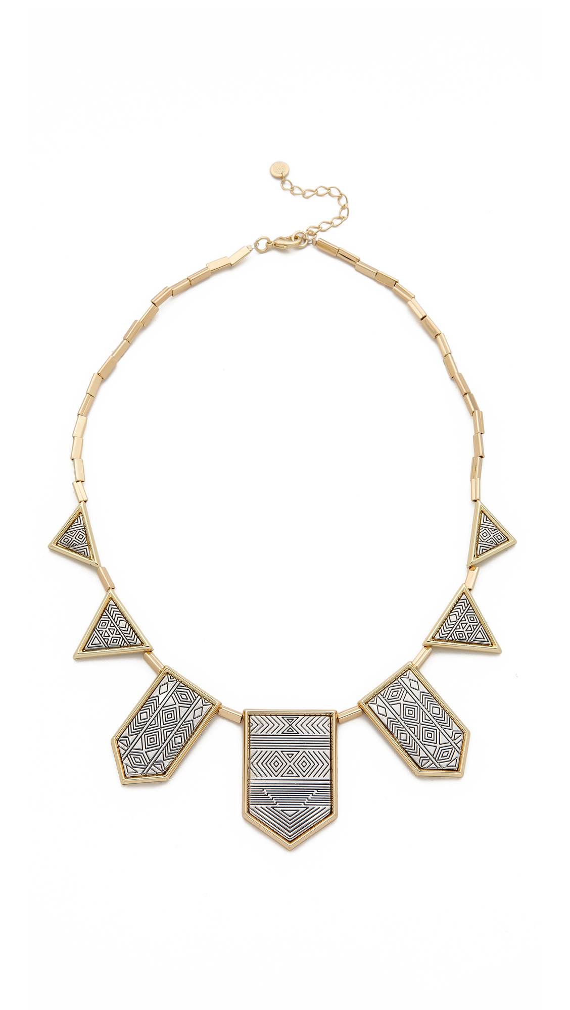 House Of Harlow Classic Station Pyramid Necklace in Metallic Silver ZoYgx
