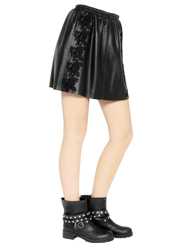 blugirl blumarine macram 233 lace on leather skirt in black