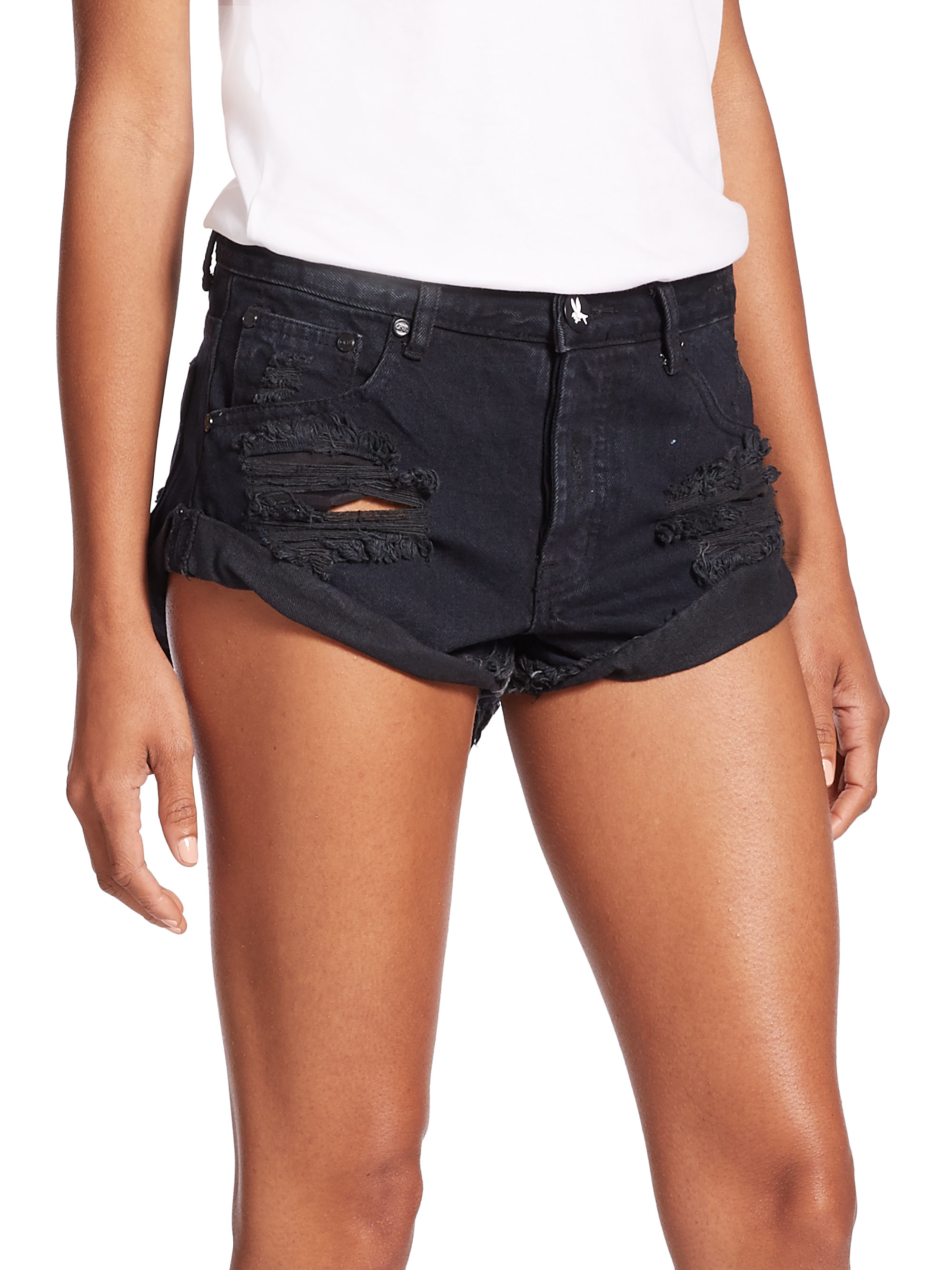 Shop black denim shorts at Neiman Marcus, where you will find free shipping on the latest in fashion from top designers.