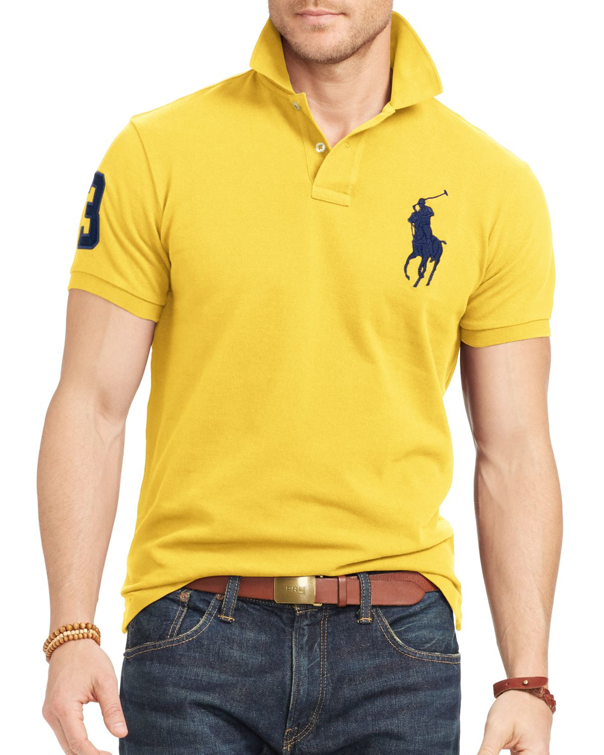 Ralph lauren polo custom fit big pony mesh slim fit polo for Ralph lauren custom fit mesh polo shirt