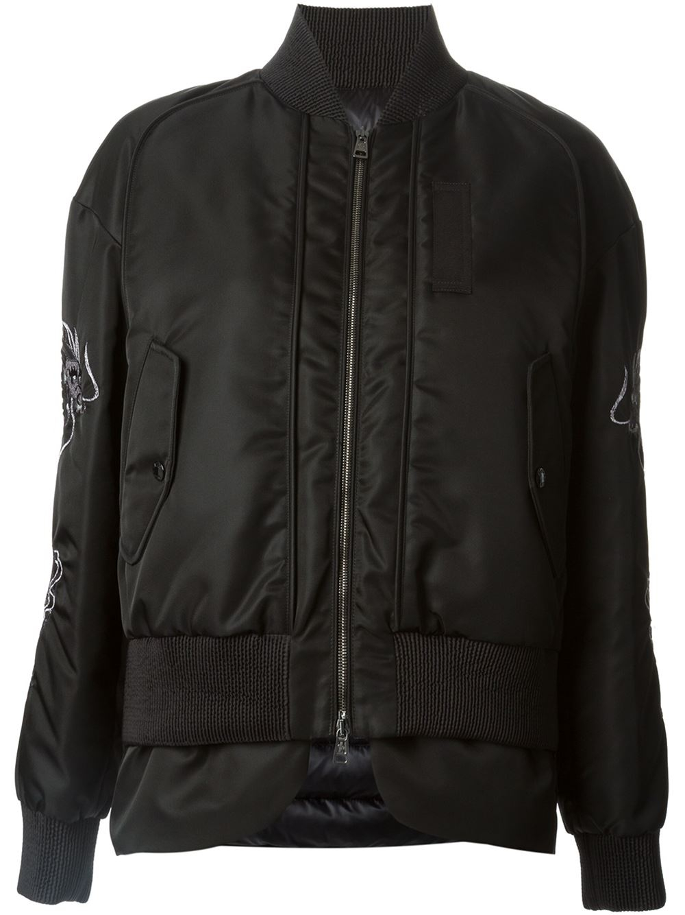 Moncler dragon embroidered bomber jacket in black lyst
