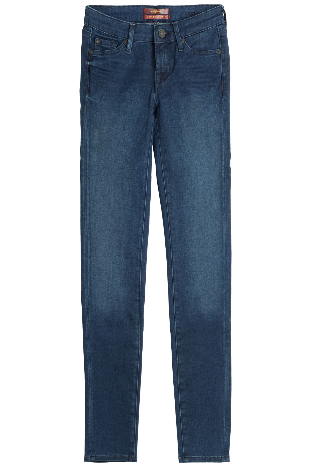 7 for all mankind stretch cotton skinny jeans in blue lyst. Black Bedroom Furniture Sets. Home Design Ideas