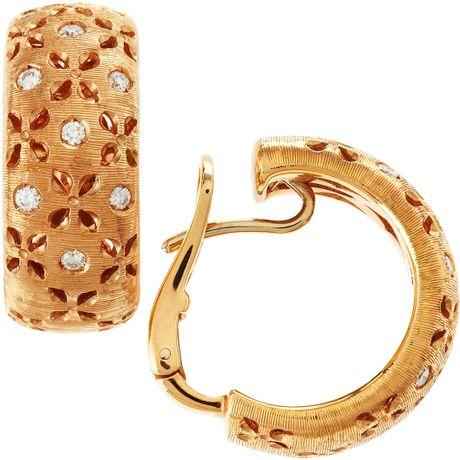 Roberto Coin Rose Gold Diamond Hoop Earrings