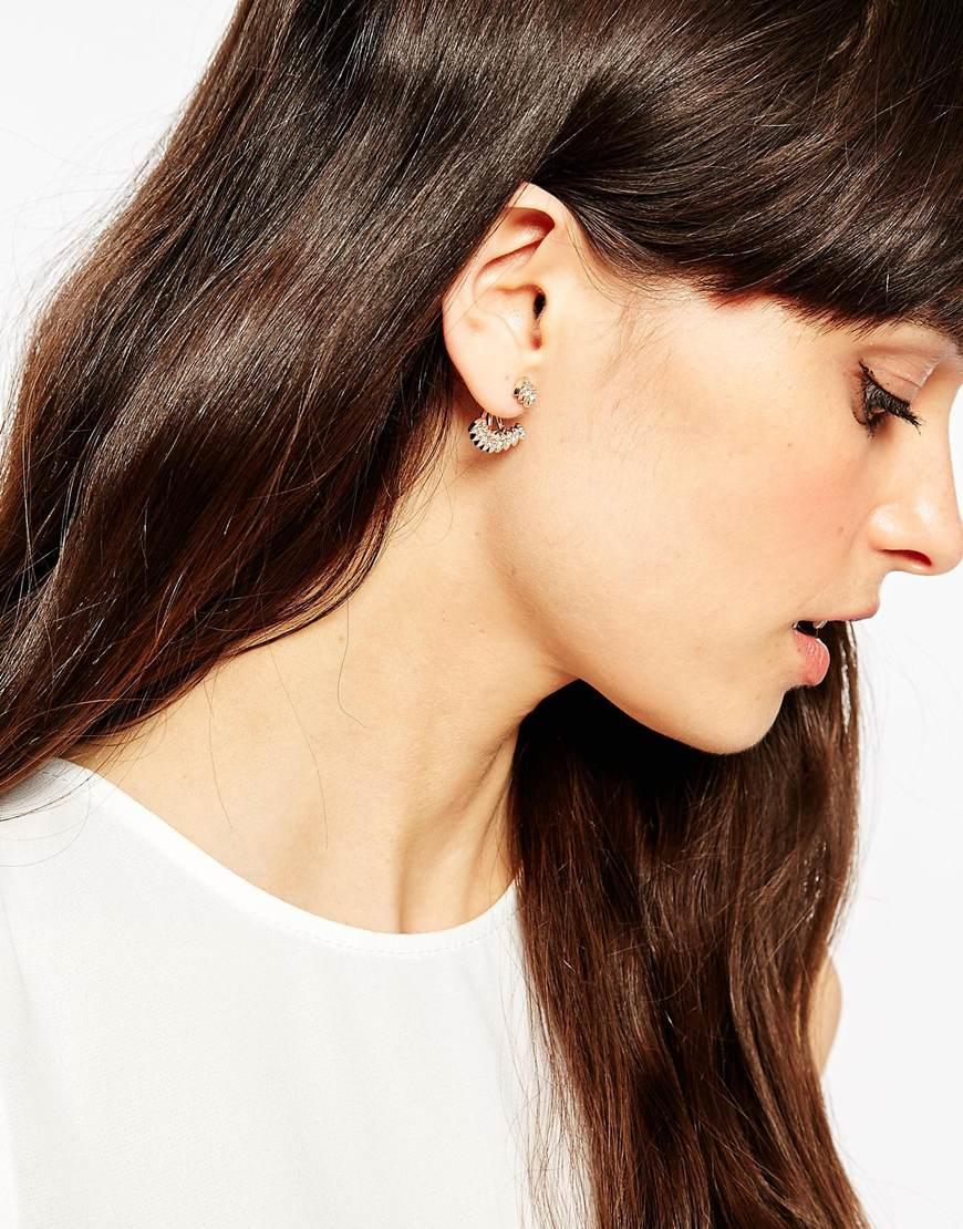 Asos Delicate Stone Swing Earrings in Metallic | Lyst