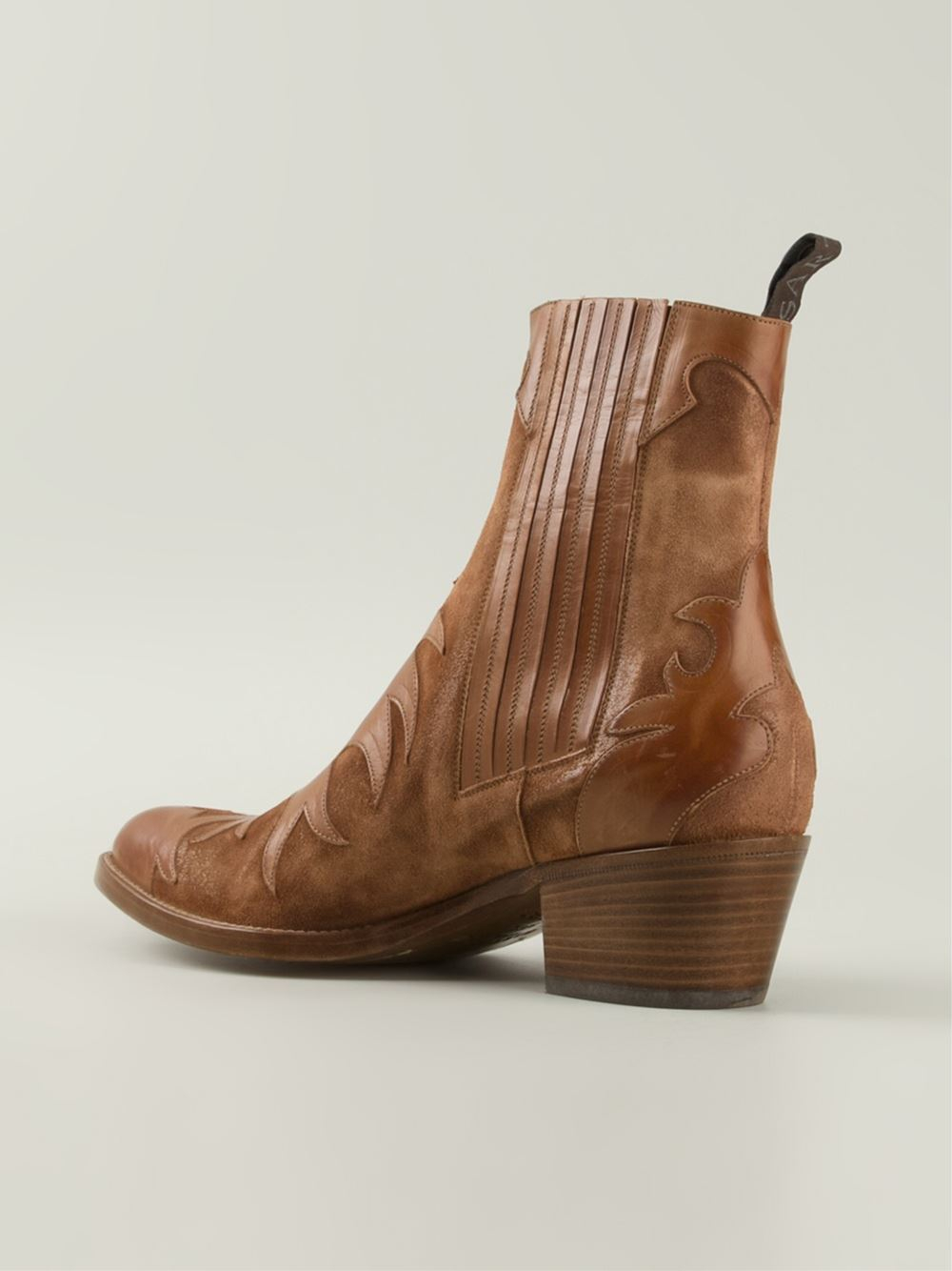 sartore patterned cowboy style boots in brown lyst