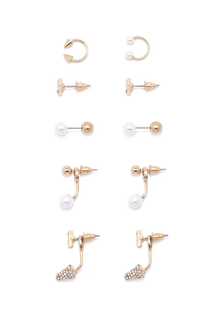 Lyst forever 21 rhinestone mixed earring set you 39 ve been for Forever 21 jewelry earrings