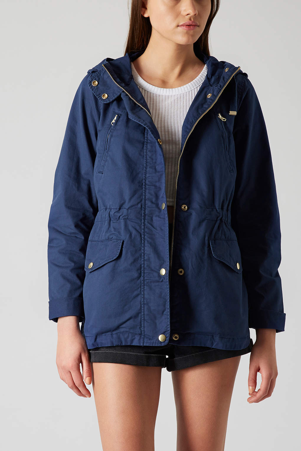 Topshop Hooded Parka Jacket in Blue | Lyst