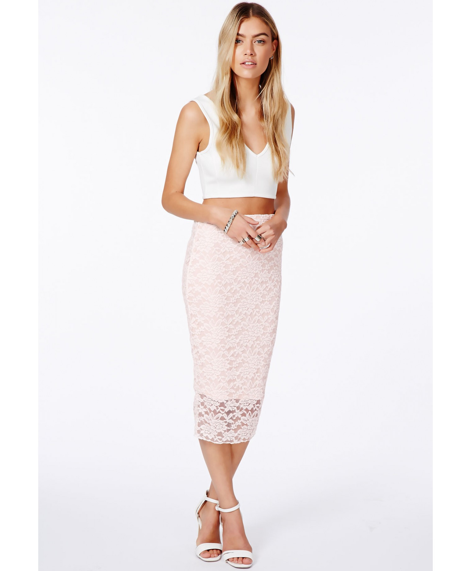 Missguided Graciana Nude Lace Midi Skirt in Pink | Lyst