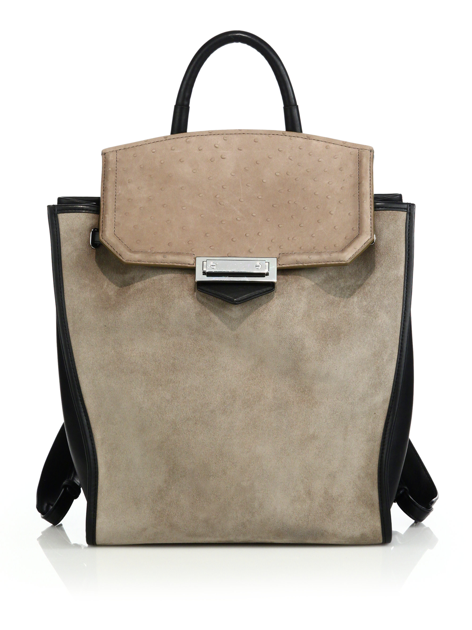 Alexander wang Prisma Suede, Leather & Ostrich-embossed Leather ...