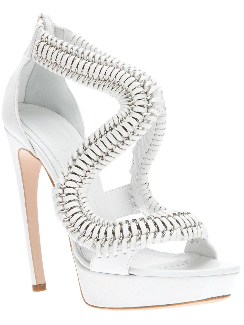 Alexander Mcqueen Chain High Heel Sandals In White Lyst