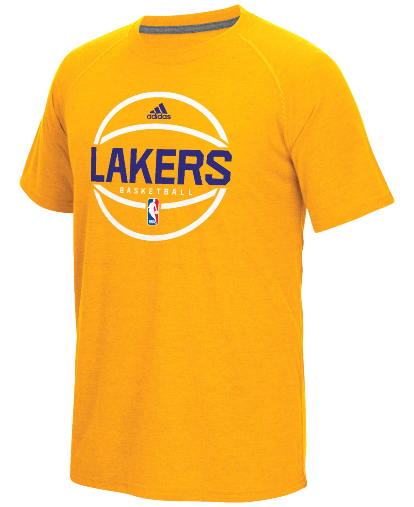 adidas originals men 39 s los angeles lakers climacool ultimate t shirt in yellow for men lyst. Black Bedroom Furniture Sets. Home Design Ideas
