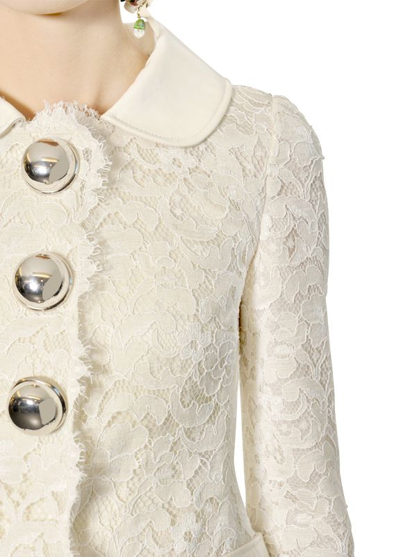 Dolce &amp gabbana Cotton Lace Coat in White | Lyst