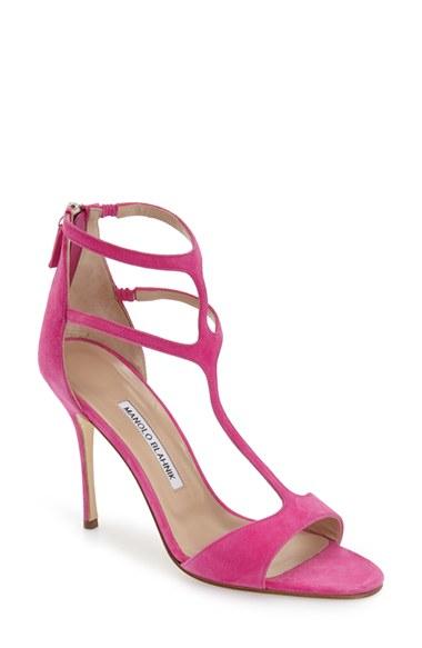 Manolo Blahnik 39 Cellin 39 Double T Strap Sandal In Pink Lyst