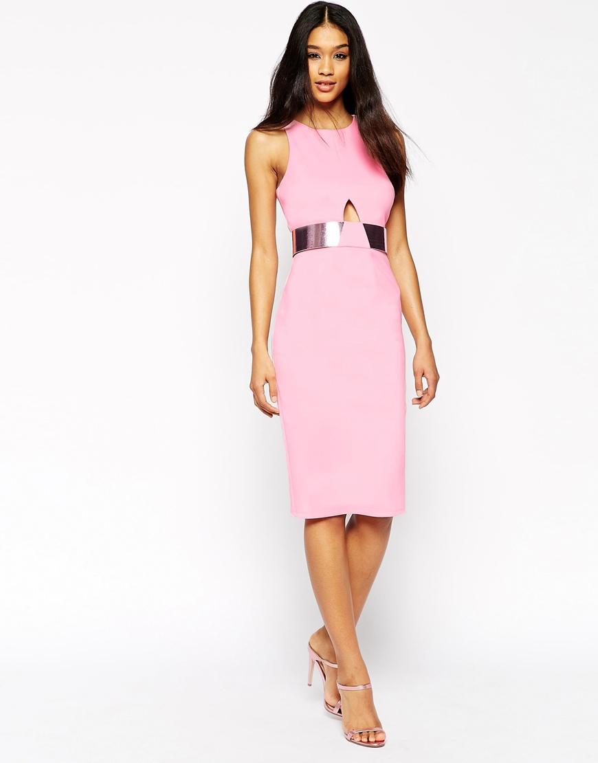 f2e3f945b9 Asos metallic belt bonded scuba cut out pencil dress in pink jpg 870x1110  Asos pink dress