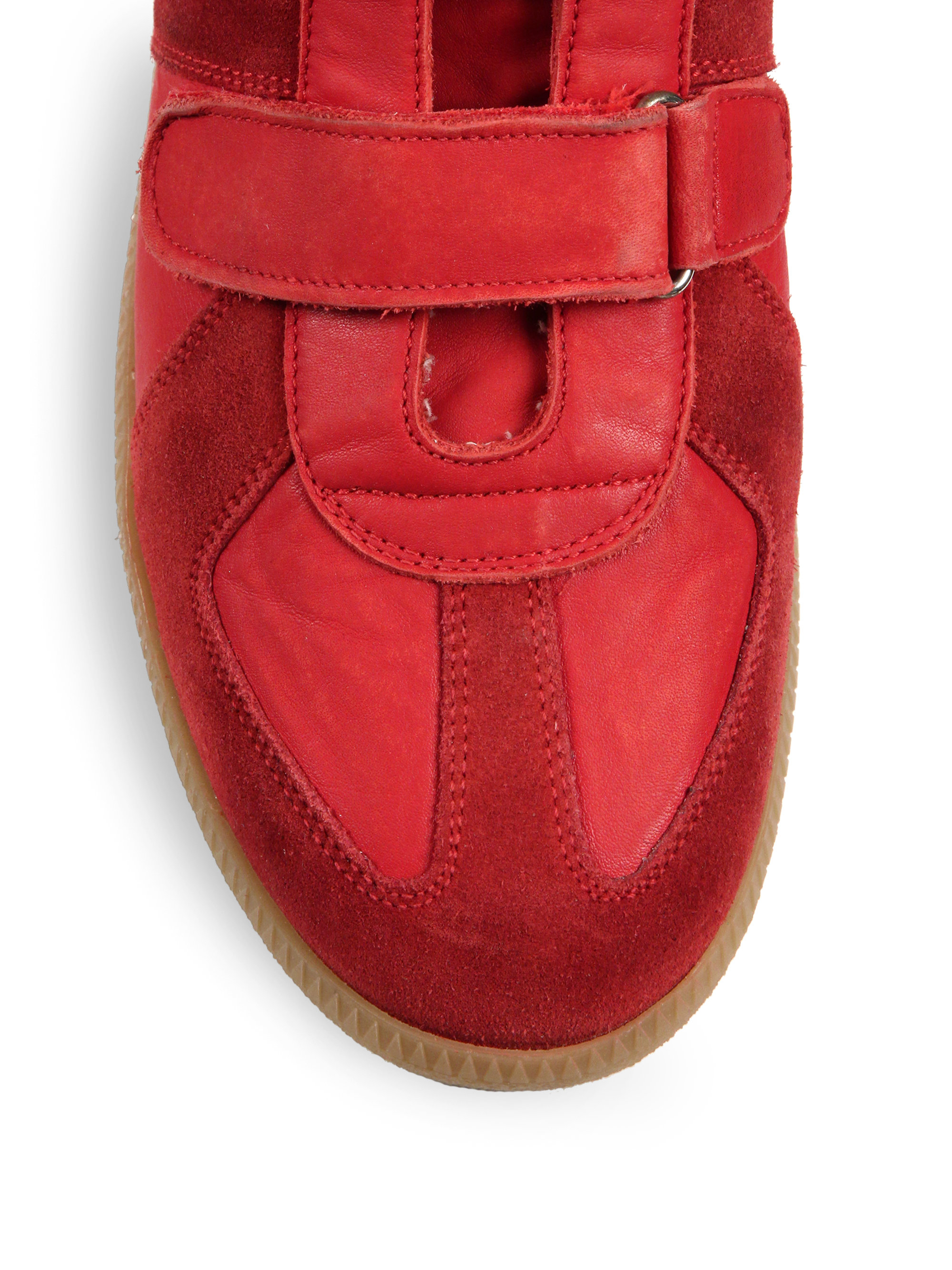 Maison margiela triple strap suede high top sneakers in for Maison de margiela