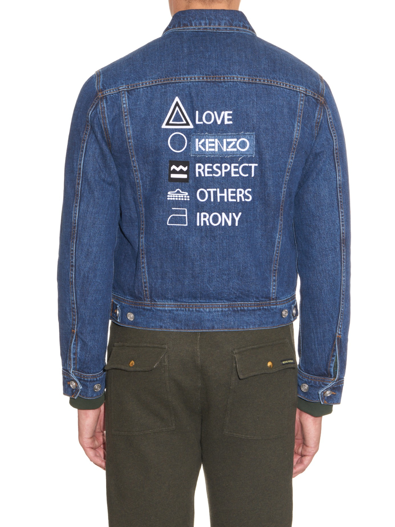Kenzo Embroidered-back Denim Jacket in Blue for Men | Lyst