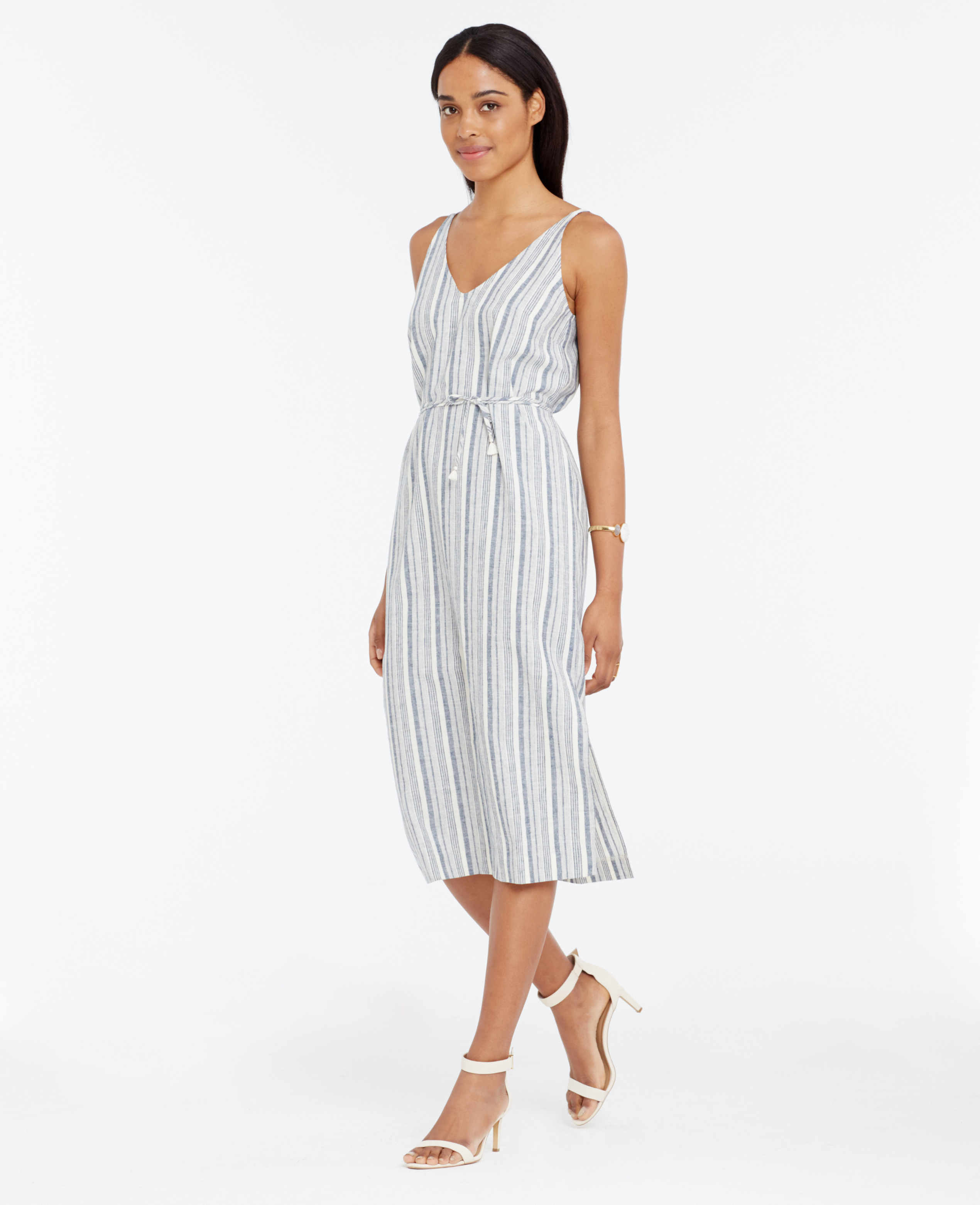 Lyst - Ann Taylor Petite Striped Linen Cotton Midi Dress in Blue