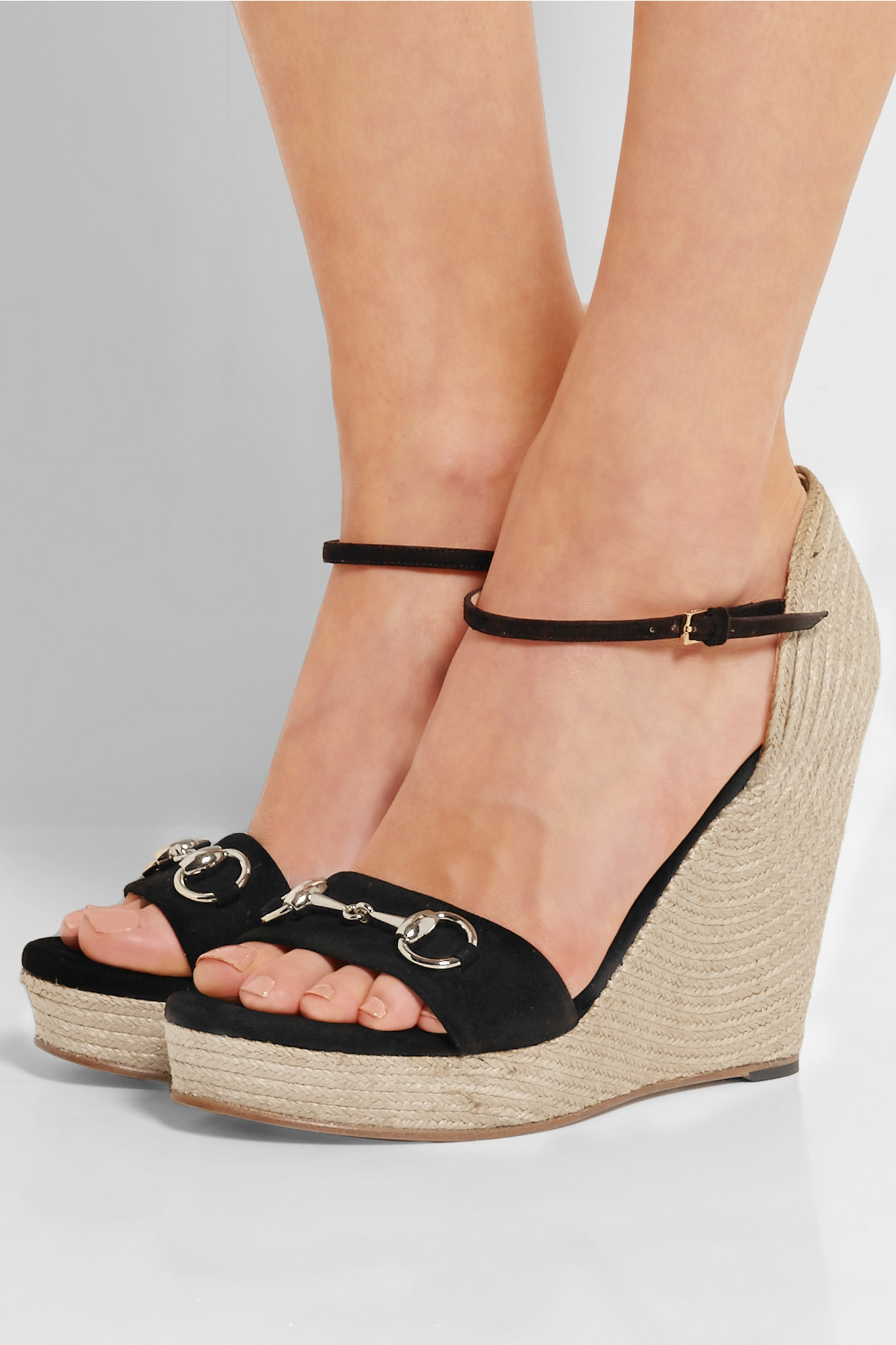 b6524c24d Gucci Horsebit-detailed Suede Espadrille Wedge Sandals in Black - Lyst
