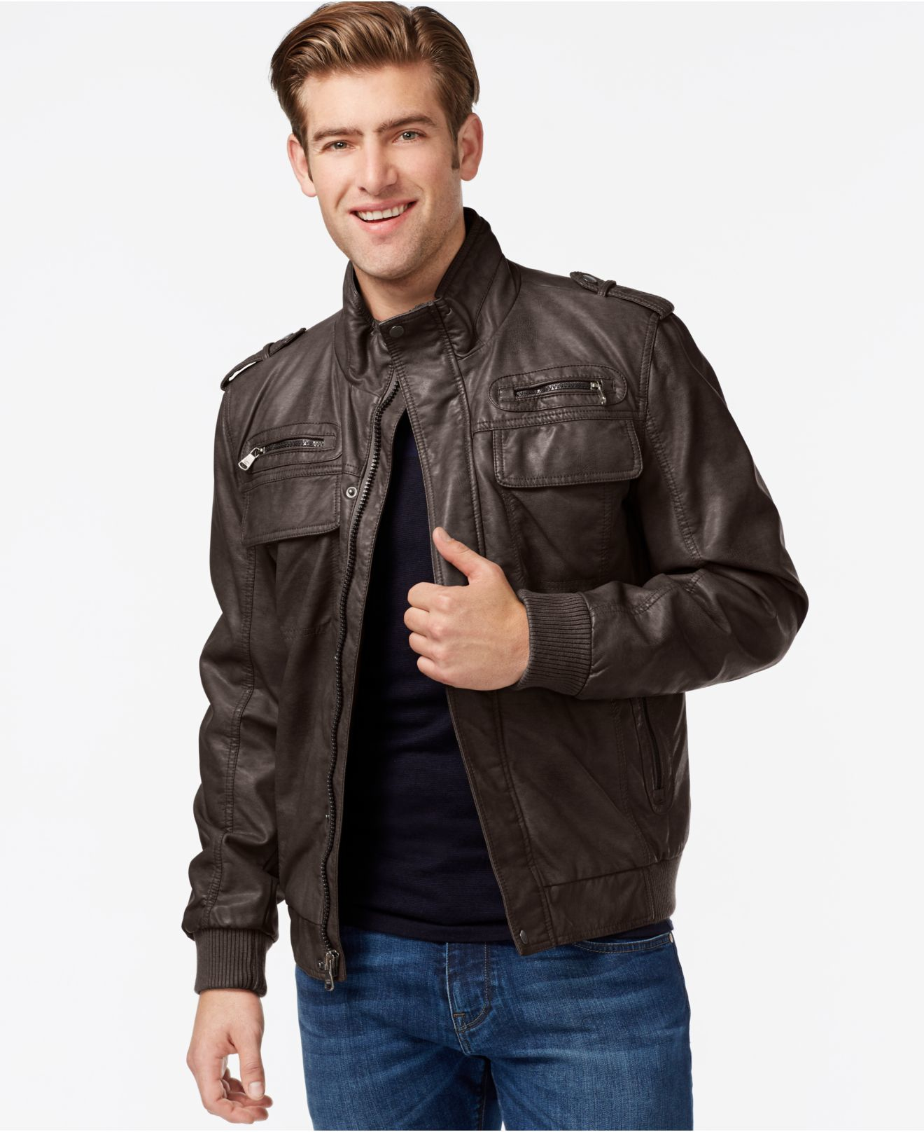 Calvin klein Faux-leather Bomber Jacket in Brown for Men | Lyst